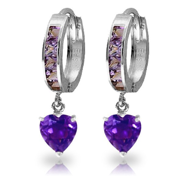 14K White Gold 3.25ct Heart & .85ct Amethyst Hoop