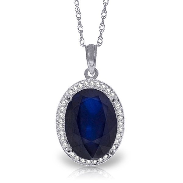 6.58ct 14k White Gold Loren Sapphire Diamond Necklace