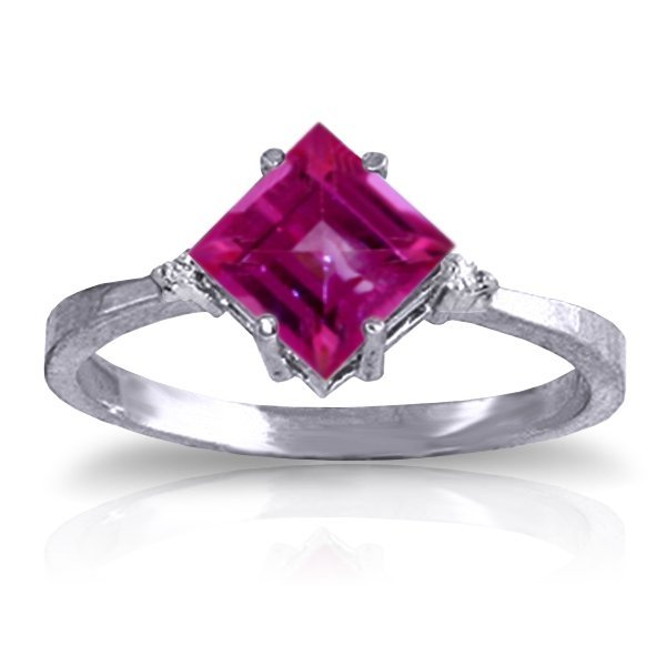 14K White Gold 1.75ct Pink Topaz & Diamond Ring