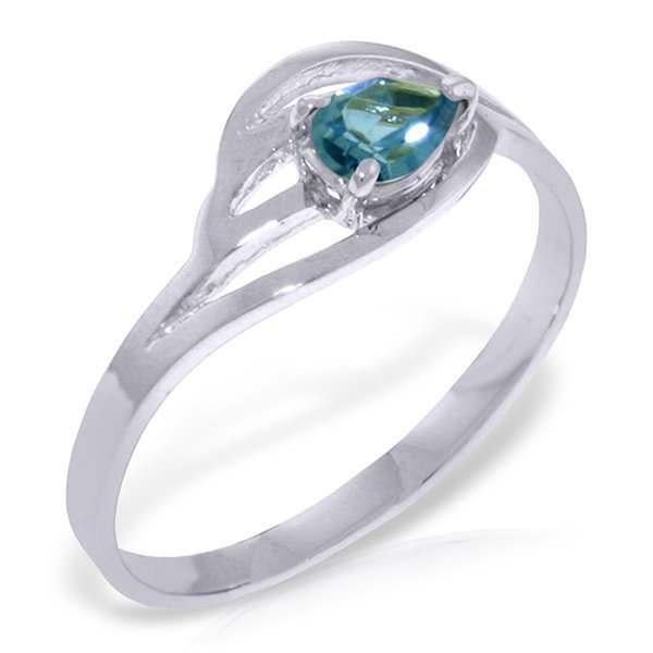 14k Solid Gold 0.30ct Blue Topaz Ring