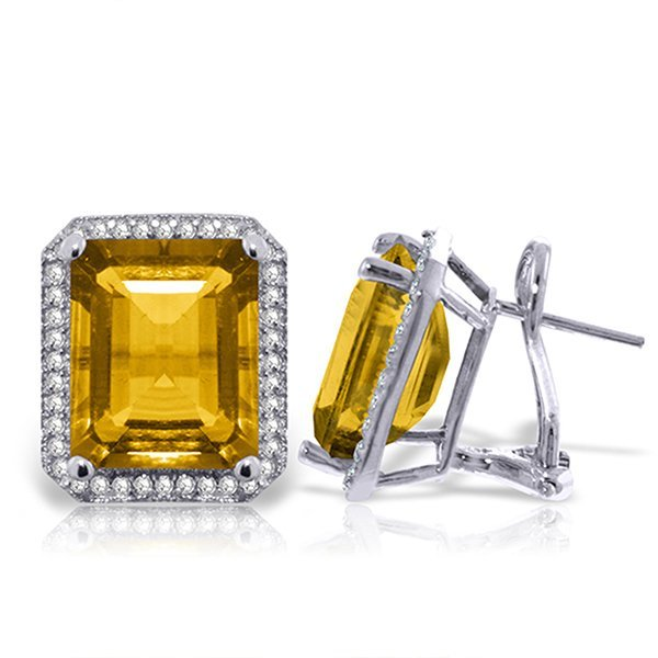 10.8ct 14k White Gold Isabella Citrine Diamond Earrings