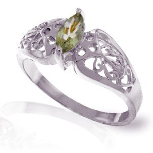 14K White Gold .20ct Green Amethyst FILIGREE Ring