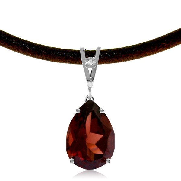 14K White Gold 6.0ct Garnet & Diamond Necklace