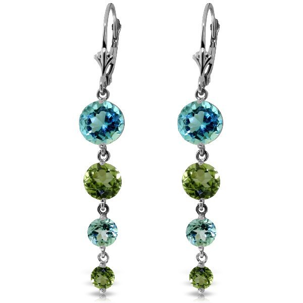 14k WG Blue Topaz & Peridot Graduated Earrings