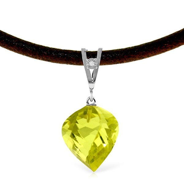 14K White Gold 10.75ct Quartz Lemon & Diam. Necklace