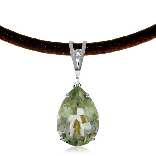 14K White Gold 6.0ct Green Amethyst,Diamond Necklace