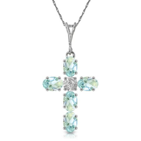 14k WG 1.73ct Aquamarine & .02ct Diam. Cross Necklace