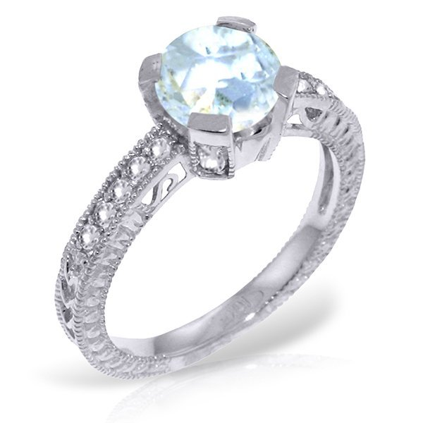 14K White Gold 1.50ct Aquamarine & Diamond Ring