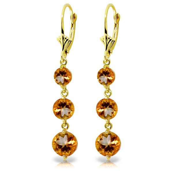 14K YG 3.90ct,2.1ct & 1.2ct CITRINE CHANDELIER EARRING