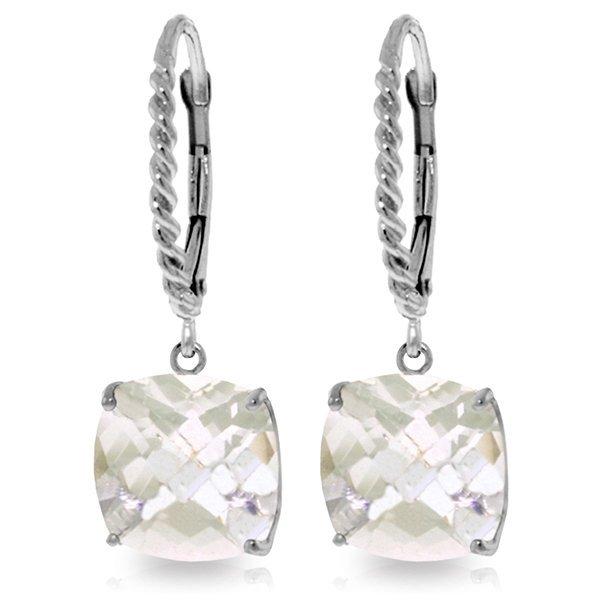14k White Gold 7.20ct White Topaz Leverback Earrings