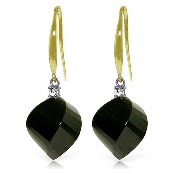 14k YG 31.0ct Spiral Black Spinel & Diamond Earrings