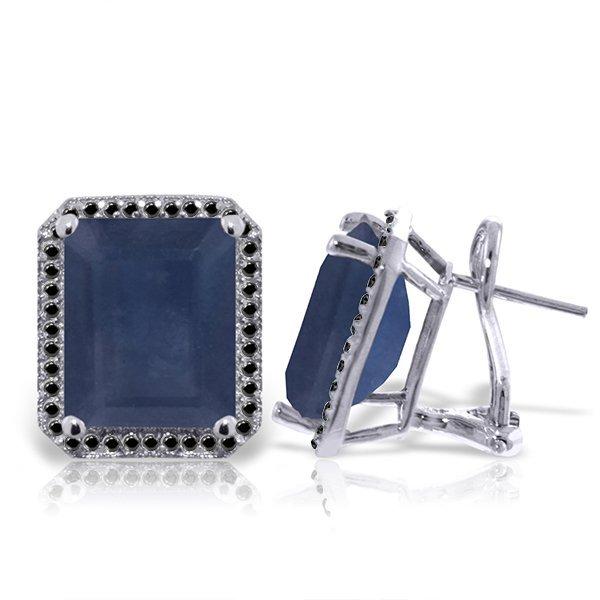 14K White Gold 12.8ct Sapphire & Black Diamond Earring