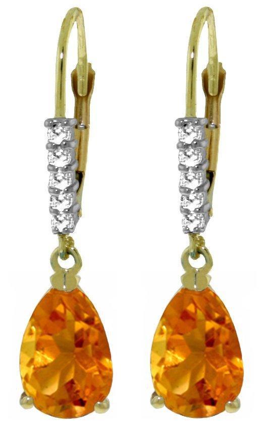 14K YG 3.0ct Citrine & Diamond Leverback Earrings