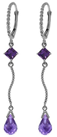 14K White Gold 2.5ct & 1.0ct Amethyst Leverback Earring