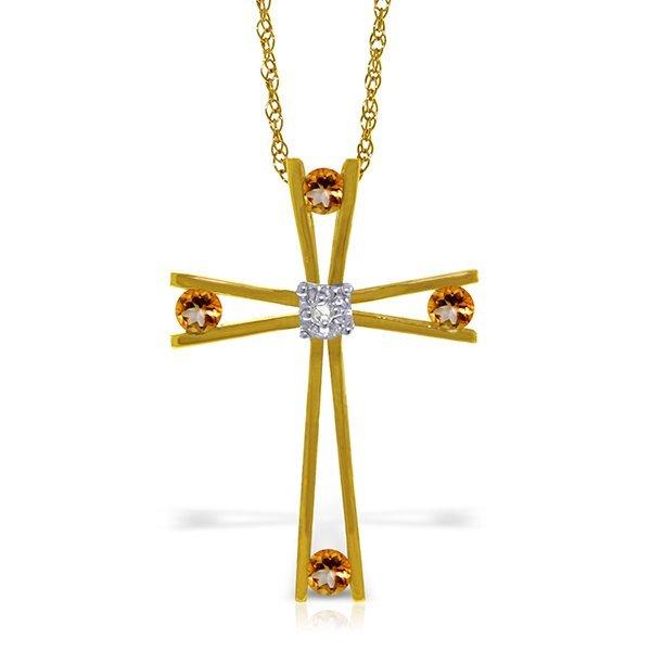 14k YG Citrine & Diamond Vintage Cross Necklace