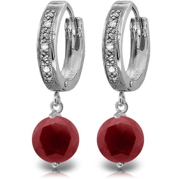 14K White Gold 4.0ct Ruby & Diamond Hoop Earring