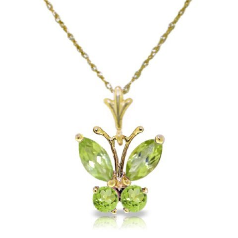14k YG 0.40ct & 0.20ct Peridot Butterfly Necklace