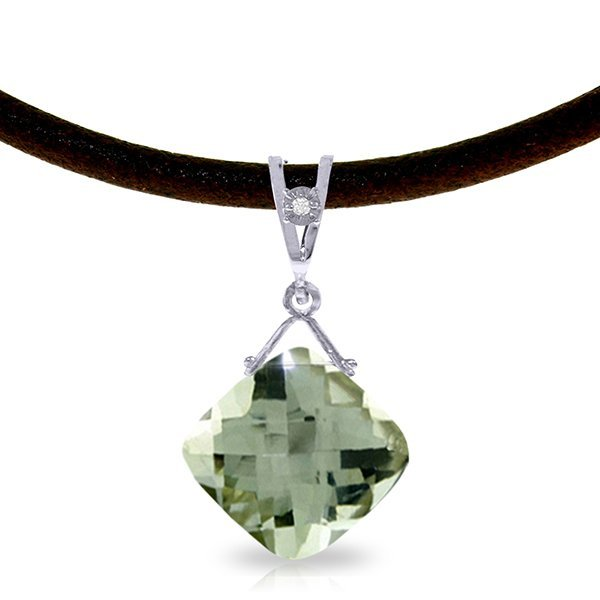14K White Gold 8.75ct Green Amethyst & Diam. Necklace