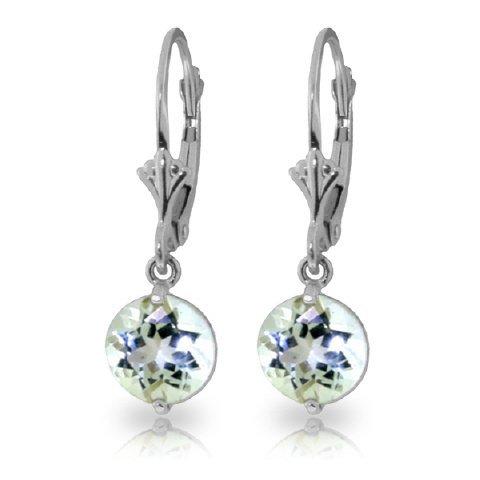 14k WG 3.10ct Round Aquamarine Dangle Earrings
