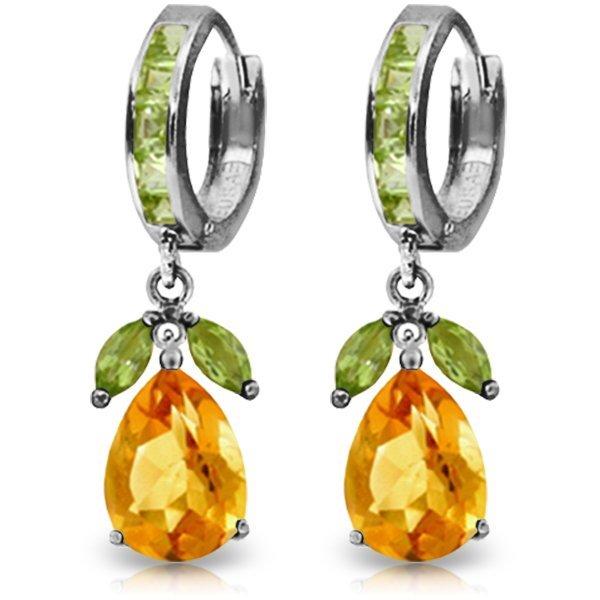 14K White Gold 12.0ct Citrine & Peridots Huggie Earring