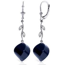 14K White Gold 30.5ct Spiral Sapphire & Diamond Earring