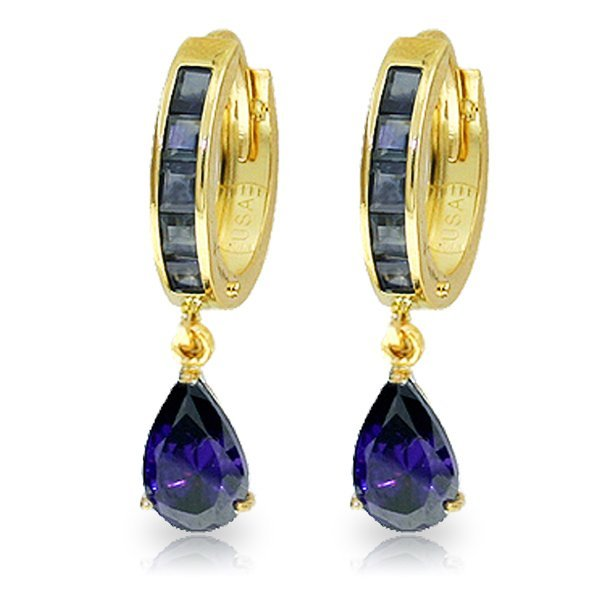 14K Solid Gold 3.25ct & 1.3ct Sapphire Huggie Earring