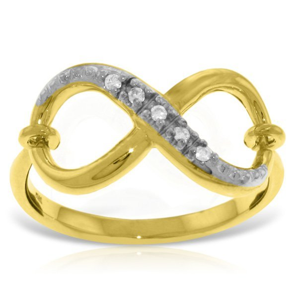 14K Solid Gold .03ct G-H,SI-1 Diamond Infinity Ring