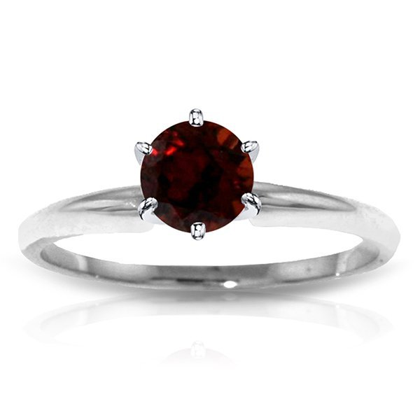 14k WHITE GOLD 0.65ct Garnet Solitaire Ring