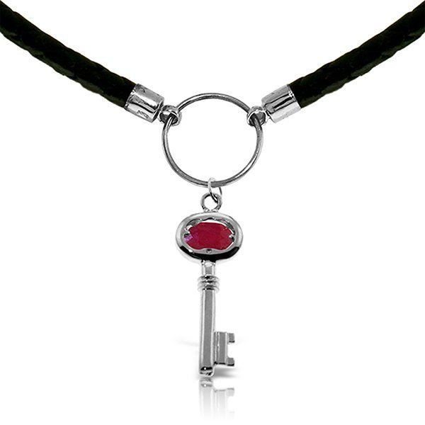 14K White Gold .50ct Ruby Key Leather Necklace
