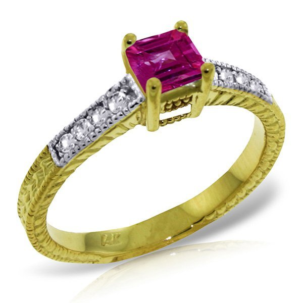 14K Solid Gold .50ct Pink Topaz & Diamond Ring