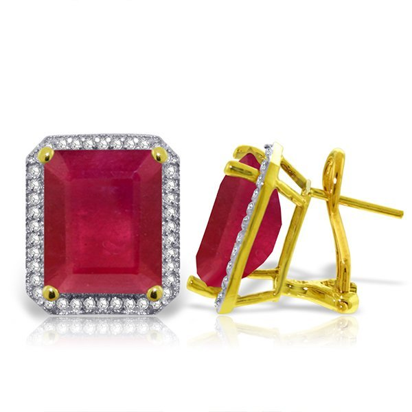14K Solid Gold 14.50ct Octagon Ruby & Diamond Earring