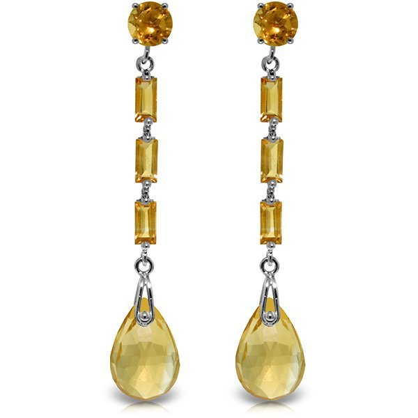14K White Gold 6.0ct 1.35ct & 1.25ct Citrine Earring