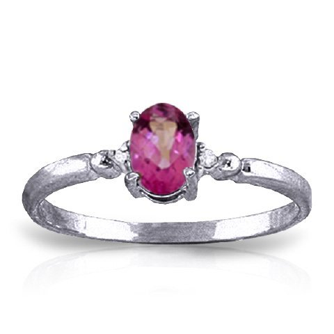 14k Solid Gold 0.45ct Pink Topaz & Diamond Ring