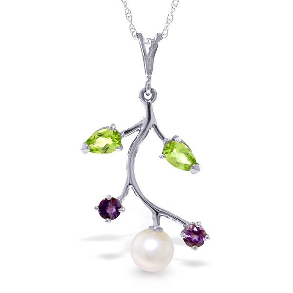 14k Solid Gold Peridot, Amethyst & Pearl Necklace