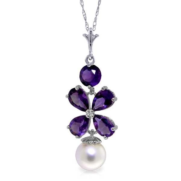 14K WG 2.15ct PEAR AMETHYST & 1.0ct PEARL NECKLACE