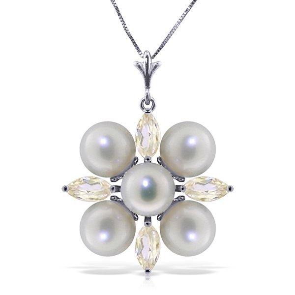 14k Solid Gold Clustered Pearls & White Topaz Necklace
