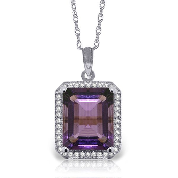 14k Solid Gold 5.60ct Amethyst & Diamond Necklace