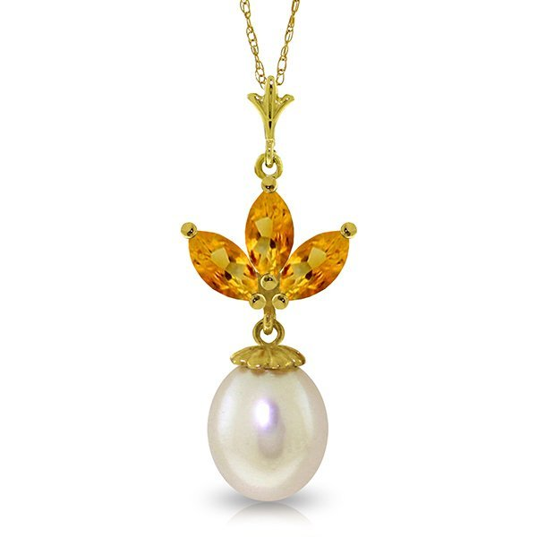 14k Yellow Gold Pearl & 0.75ct Citrine Necklace