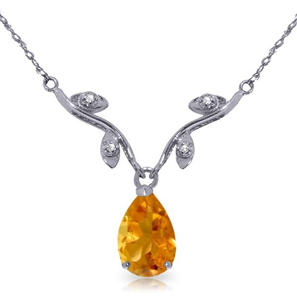 14k WG Elegant 1.50ct Citrine with DIAMOND Necklace
