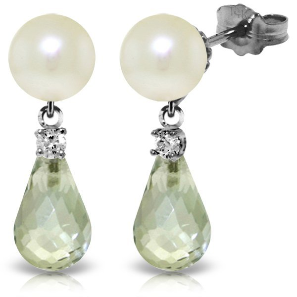 14k WG 4.50ct Green Amethyst, Diamond & Pearl Earrings