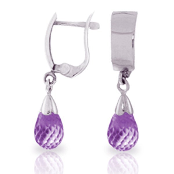 2.50ct Briolette Amethyst Earrings in 14k WHITE GOLD