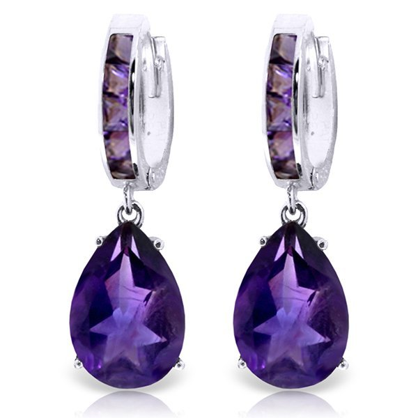 14K White Gold 12.0ct & 1.2ct Amethyst Huggie Earring