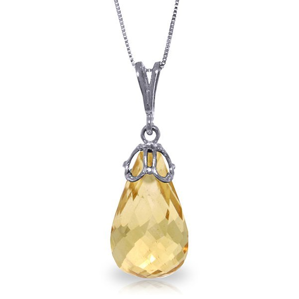 14k Solid Gold 7.0ct Briolette Citrine Necklace