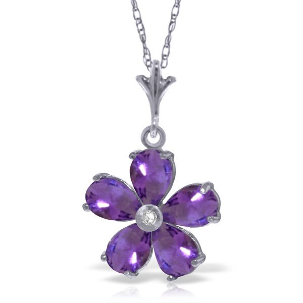 14k WG 2.20ct Amethyst w/ Diaomnd Flower Necklace