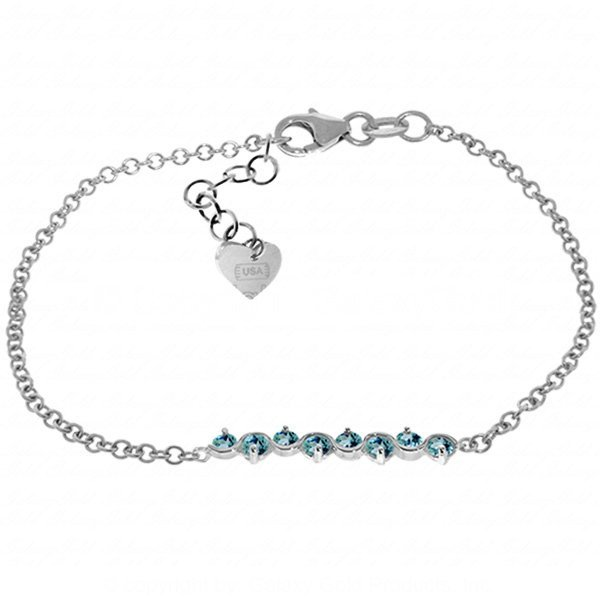 14K White Gold 1.55ct Round Blue Topaz Bracelet