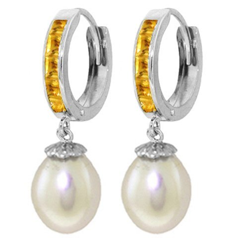 14K White Gold 8.00ct Pearl & 1.30ct Citrine Earring