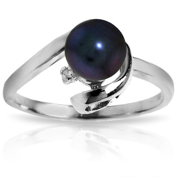 14k Solid Gold Black Pearl & Diamond Ring