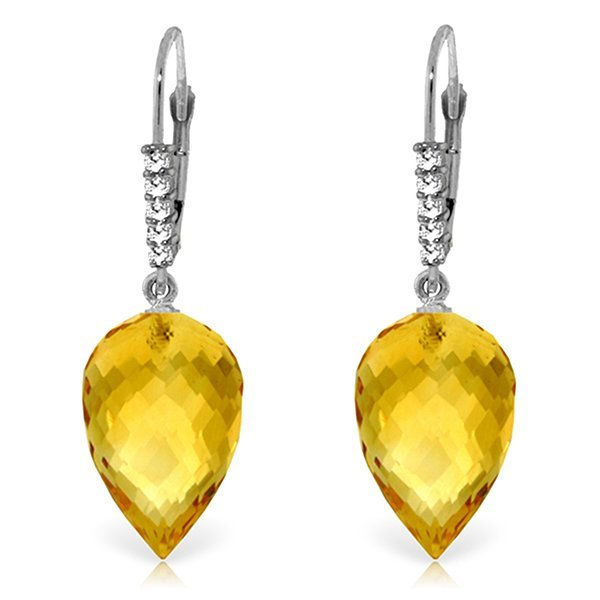 14k Gold 19.0ct Citrine with Diamond Earrings