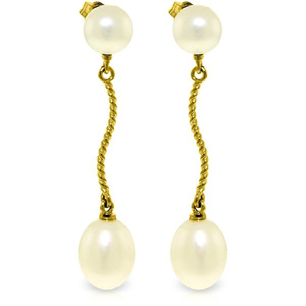 14K Solid Gold 8.0ct & 2.0ct Pearl Dangling Earring