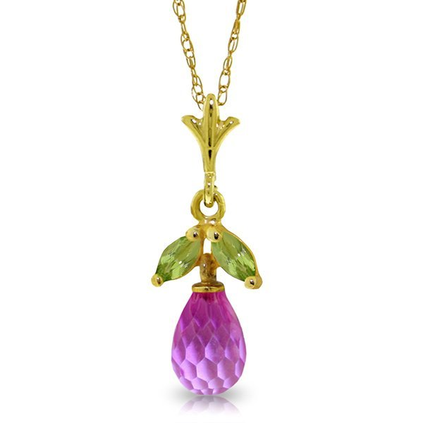 14K YG 1.50ct PINK TOPAZ & 0.20ct PERIDOT NECKLACE